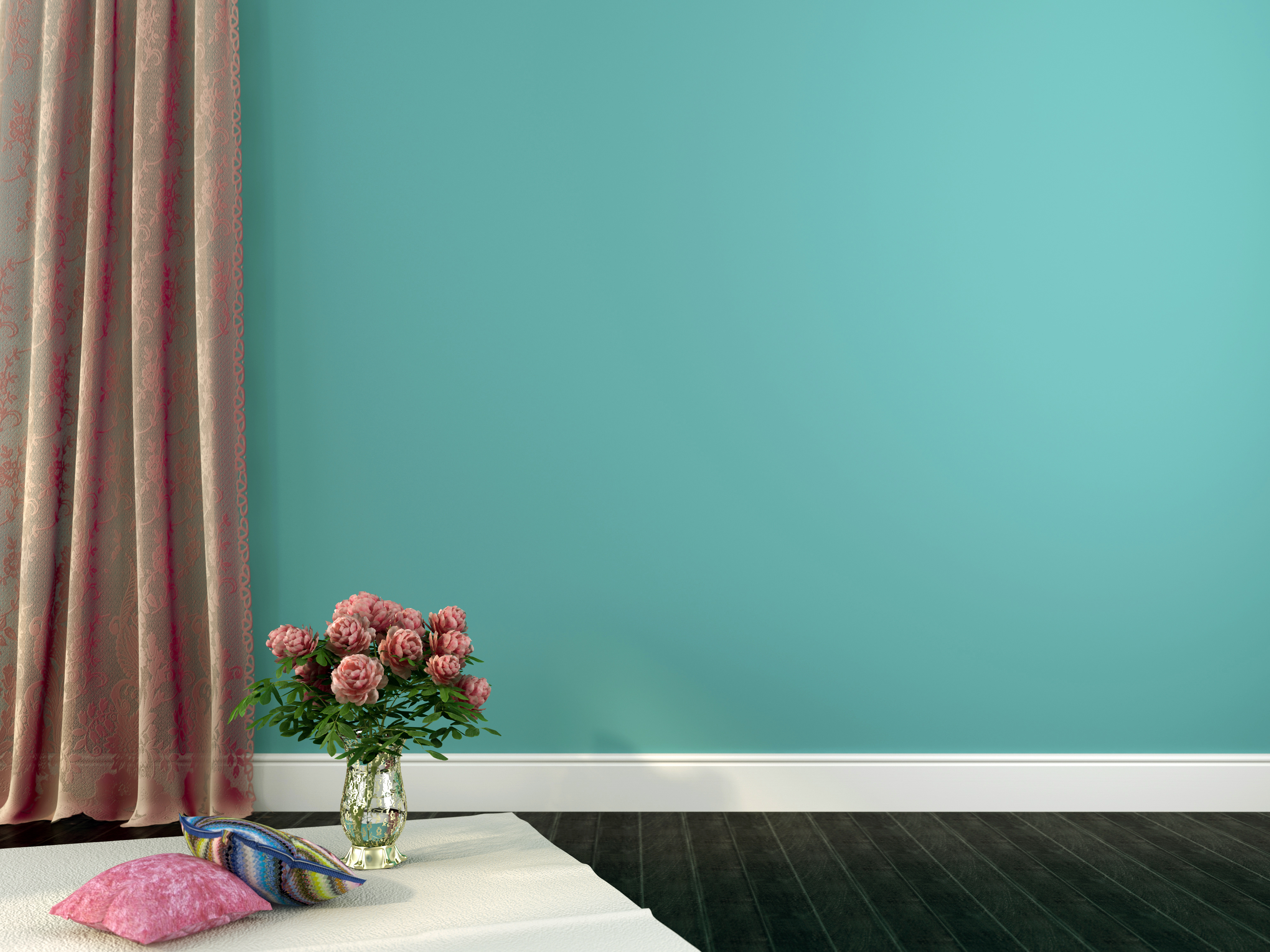 Romantic interior composition with vase of flowers and pillows on a background of blue walls and curtains of guipure